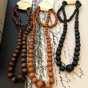 Accessories - 3 wooden earthy beaded necklaces
